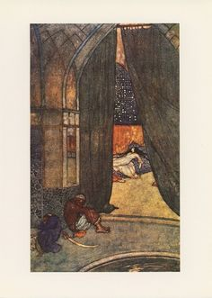 """He saw the black eunuchs lying asleep"" Arabian Nights, Edmund Dulac Edmund Dulac, Arabian Nights, Golden Age, Art Forms, Renaissance, Fairy, Vintage Illustrations, Anton, Artist"