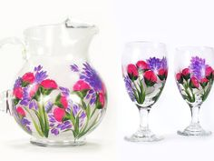 Hand-Painted Beverage Set Juice Pitcher +  4 Glasses - Colorful Pink Carnations, Purple Lilacs - Hostess Serving Set by HandPaintedPetals on Etsy