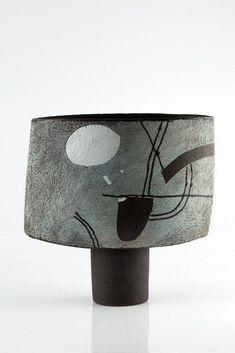 John Maltby (British, b.1936) 'Moonlit landscape' footed vessel