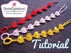 Tutorial 7. * Bracciali Cuore * Simil - Cruciani . How to Heart Crochet Bracelets - YouTube