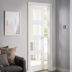 With four glazed panels, this modern door allows plenty of light to flood the room. Internal Doors Modern, Internal Glazed Doors, Modern Door, Primed Doors, Black Interior Doors, Shaker Doors, Modern Windows, Room Doors, House Doors