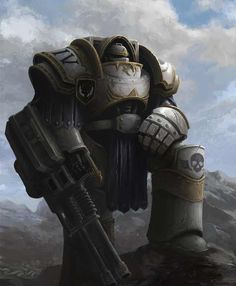 A Terminator (Cataphractii Pattern Armor) from the Luna Wolves (then Sons of Horus). Warhammer 40k Art, Warhammer Fantasy, Warhammer Games, Armadura Sci Fi, Sons Of Horus, The Horus Heresy, Space Marine, Sci Fi Fantasy, Paintball