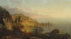 Amalfi Coast | From a unique collection of paintings at https://www.1stdibs.com/art/paintings/ George Loring Brown  Amalfi Coast, 1875   Offered By Osuna Art & Antiques  $50,000