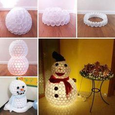 Boneco de neve de copo descartavel