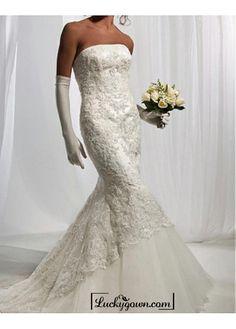 Beautiful Elegant Satin  & lace & tulle Mermaid Strapless Wedding Dress In Great Handwork