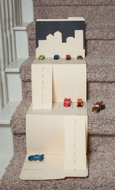Car mat for the stairs... Who needs hot wheels?!?