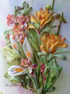 Bordado de cinta de seda de colección de especies exóticas