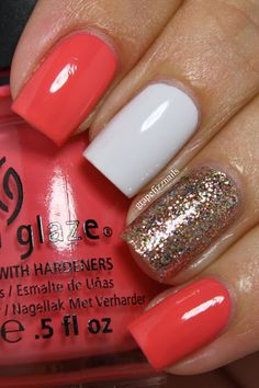 Hey Dolls      I've got a fun Summer mani for you today! I love spicing up a pretty cream with an accent nail,and I'm also loving the mu...
