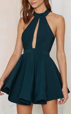 Short Dark Green Prom Homecoming Dresses With Keyhole Backless Mini Admirable Prom Dresses by DestinyDress, $136.86 USD