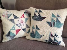 Handmade Quilted Pillow Boat House by by SeasideStitchin on Etsy