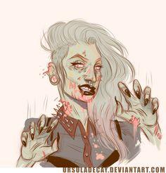 Zombie self portrait hehe Zombie Walk, Zombie Girl, Ursula Decay, Character Aesthetic, Character Design Inspiration, Beautiful Artwork, Figurative Art, Poses, Art Museum