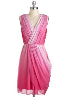 Twilight Gathering Dress in Pink, #ModCloth A longer, asymmetrical nod to this dress would be interesting