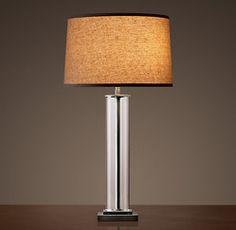 Restoration Hardware(レストレーションハードウェア)テーブルライト_French Column Glass Table Lamp Aged Steel