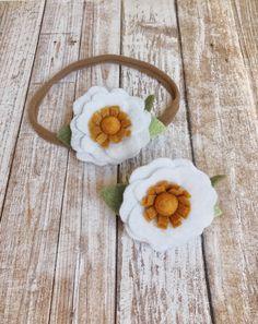 White and mustard yellow felt flower headband and hair clip
