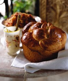 Russian Easter Bread  |  A cross between brioche and challah, this bread (called kulich) is a lightly sweetened, egg-glazed cylinder, often baked in a coffee can to make a tall loaf. The kulich would sit proudly in the center of the family Easter basket, surrounded by meats, cheeses, butter, and eggs. It's a central part of the Easter meal, served with sweet paskha cheese or unsalted butter.