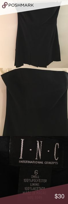 I.N.C. LBD Super cute strapless little black dress with pleats on bottom. New condition INC International Concepts Dresses