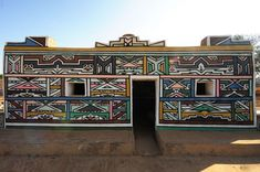 ndebele houses - Google Search Religious Architecture, Beautiful Architecture, South Afrika, Geometric Painting, Vernacular Architecture, Africa Art, Amazing Buildings, Design Language, Stone Houses