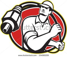 Illustration of a cable tv installer guy wielding a coaxial coax cable viewed from front set inside oval done in retro style on isolated white background. - stock vector #cableguy #retro #illustration