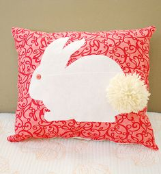 change the pink with muslin/burlap and cream bunny cut out.  Cute.