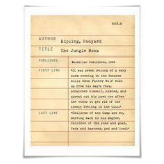The Jungle Book Rudyard Kipling. Literary Art Print. 5 Sizes. Library Card. Book Lovers Gift. Literature
