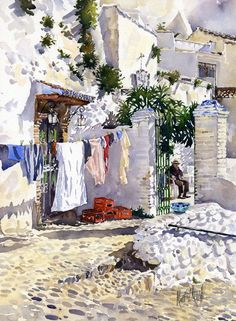 An accurate painting of the gypsy quarter, Granada, Spain