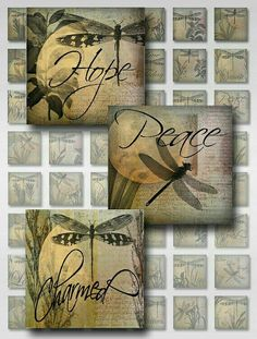I ♥ Dragonflies! Inspirational Words on Botanical and Ephemera Background accented by a Summer Moon Glow! 1 or Scrabble Tile Size x just use Dragonfly Decor, Dragons, Wood Burning Art, Collage Sheet, Collage Art, Ephemera, Art Journals, Decoupage, Art Projects
