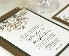 Art Deco Wedding Invitations Gold Wedding Invitations Monogram Wedding Invitations Sample. $2.50, via Etsy.