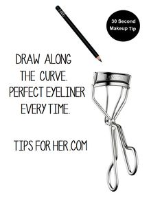 Draw along the curve on the upper part of the eyelash curler for a perfect eyeliner every time. Lift eye brown and press into the eyelid and hold for about 30 seconds and pump times. -- 30 Second Makeup Tip idk about this but i'll try Eyeliner Hacks, Eyeliner Styles, How To Apply Eyeliner, Makeup Hacks, Makeup Tutorials, Lipstick Tricks, Eyeliner Pencil, Makeup Ideas, All Things Beauty