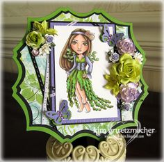 Shaped card featuring a Susana Loves Stamps - Sea Cliff Eyes stamp.