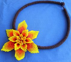Mexican Huichol Beaded flower necklace by Aramara on Etsy, $32.50