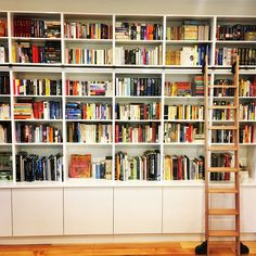 Home Dream Library Bookshelves 27 Ideas Bookcase Stairs, Library Bookshelves, Library Ladder, Bookcases, Home Library Design, Dream Library, Interior Design Living Room, Home Libraries, Home Office Decor