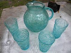 great shape vintage 1960s 1970s anchor hocking LIDO CRINKLE aqua glass PITCHER and 4 tumblers.
