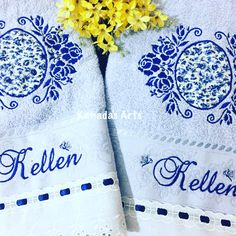 Kit toalhas banho e rosto - moldura floral azul