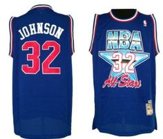 NBA 1992 All-Star  32 Magic Johnson Blue Swingman Throwback Jersey Magic  Johnson 10728ebd3
