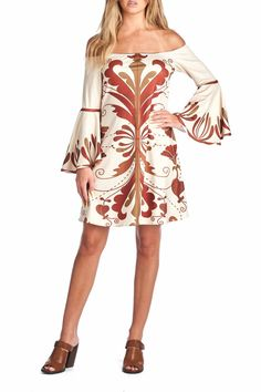 All over symmetrical print off shoulder mini dress. Stretchy fabric with soft hand. Elasticized detailing and bell sleeves.    Maroon Print Dress by Racine. Clothing - Dresses - Printed Clothing - Dresses - Casual Clothing - Dresses - Off The Shoulder California