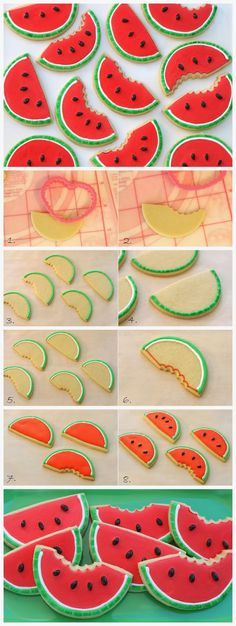 Watermelon (shaped) Cookies :) so cute for summer barbecues or parties :)