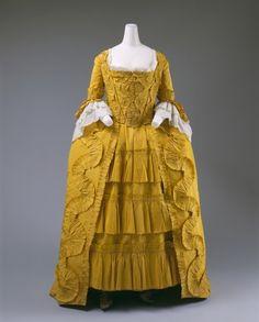 Dress. Date: ca. 1760 Culture: British Medium: Silk, linen, cotton.  Source: metmuseum.org