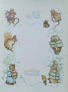 1950's Vintage Set of Two Inner Cover Main Title Character | Etsy Postcard Printing, Beatrix Potter, Wild Birds, All Print, Mice, Vintage Prints, 1950s, The Originals, Cover