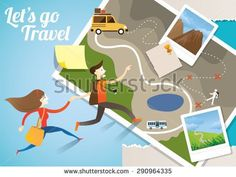 Couple run into Map, Adventure, Tourist, Sightseeing, Journey, Inspiration and Concept