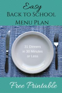 30 Minute Back to School Dinners Menu Plan {Printable} - Blessed Simplicity