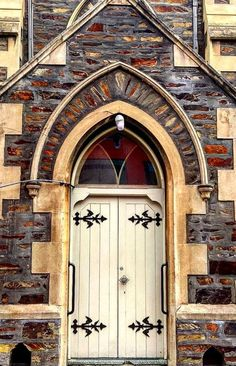 Timber slat doors with ornate door hinges White church door in Adelaide, Australia. Cool Doors, The Doors, Unique Doors, Entrance Doors, Doorway, Windows And Doors, Doors Galore, When One Door Closes, Door Gate