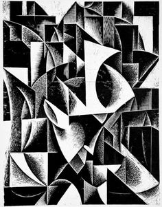 Ewald Dülberg (Germany 1888-1933), Untitled abstract composition, ca 1919, woodcut. Image: 7 13/16 x 5 15/16 in. Robert Gore Rifkind Ctr for German Expressionist Studies @ LACMA