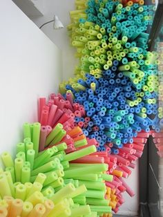 Burst - an art installation with pool noodles.