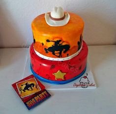 Hand painted Western Cowboy birthday cake https://www.facebook.com/Daydreamcakes