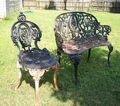 I ran across this old cast iron chair and love seat at a garage sale. Talk about heavy! It was all I could do to load it up. I wasn. Wrought Iron Garden Furniture, Cast Aluminum Patio Furniture, Wrought Iron Bench, Cast Iron Bench, Iron Patio Furniture, Diy Furniture, Outdoor Furniture, Refurbished Furniture, Wicker Furniture