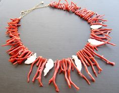 Red Coral Keishi Pearl Bib Statement Necklace di luxurybyvera
