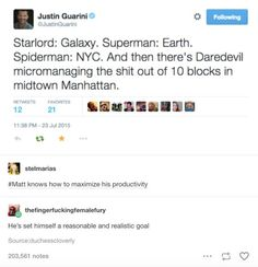 """Superman: Earth. Spider-man: NYC. And then there's Daredevil micromanaging the shit out of 10 blocks in midtown Manhattan."""