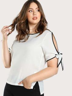 Romwe Plus Contrast Binding Split Tie Sleeve Top Blouse Styles, Blouse Designs, Casual Outfits, Fashion Outfits, Womens Fashion, Fashion Styles, Romwe, Plus Size Beauty, Plus Size Blouses