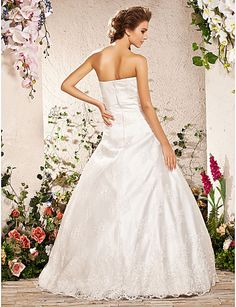 Ball Gown Strapless Floor-length Lace Satin Wedding Dress, bridesmaid dresses Free shipping, wedding dresses, a line wedding dresses 7c5e0c76