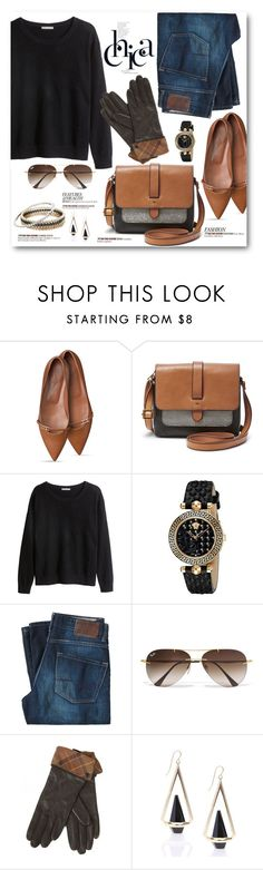 """Denim & Ballerina Flats"" by brendariley-1 ❤ liked on Polyvore featuring FOSSIL, H&M, Versace, BOSS Orange, Ray-Ban, Barbour, Kendra Scott, women's clothing, women's fashion and women"